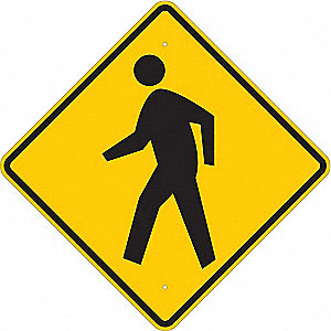 "Symbol Pedestrian Crossing Pictogram, Engineer Grade Aluminum Traffic Sign, Height 24"", Width 24"""