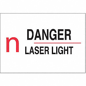 Danger Laser Sign,10 x 14In,R and BK/WHT