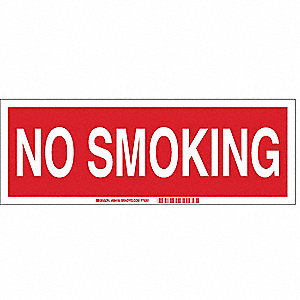 No Smoking Sign,5 x 14In,WHT/R,ENG,Text