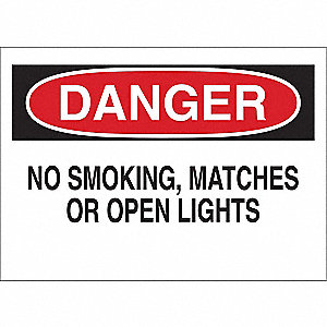"No Smoking, Danger, 10"" x 14"", Adhesive Surface, Engineer"