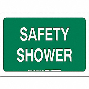 Safety Shower Sign,10 x 14In,WHT/GRN,ENG