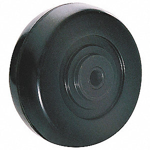 "3-1/2"" Caster Wheel, 155 lb. Load Rating, Wheel Width 1-1/4"", Rubber, Fits Axle Dia. 3/8"""
