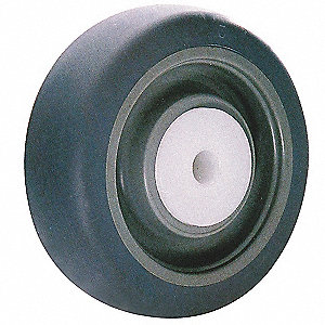 "5"" Caster Wheel, 200 lb. Load Rating, Wheel Width 1-1/4"", Rubber, Fits Axle Dia. 3/8"""