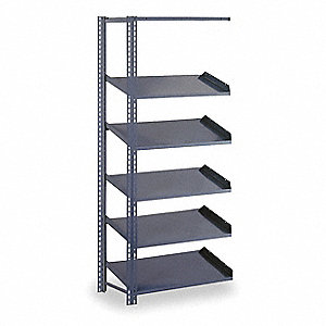 "48"" x 24"" x 84"" 20 ga. Steel Gravity Flow Shelving Add-On Unit, Gray&#x3b; Number of Shelves: 5"