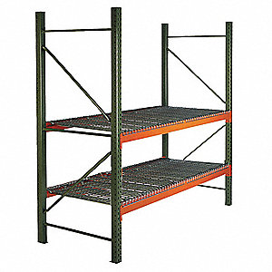 "120"" x 42"" x 120"" Steel Pallet Rack Starter Unit with 19,380 lb. Load Capacity, Orange Beams/Green U"