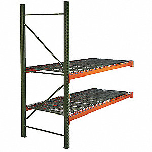 "96"" x 42"" x 120"" Steel Pallet Rack Starter Unit with 19,380 lb. Load Capacity, Orange Beams/Green Up"