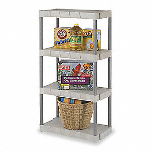 "31"" x 16"" x 56-1/4"" Freestanding Polypropylene Shelving Unit, Taupe/Tan"