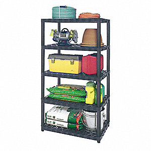 "36"" x 24-1/4"" x 71-3/8"" Freestanding Polypropylene Vented Shelving Unit, Gray/Black"