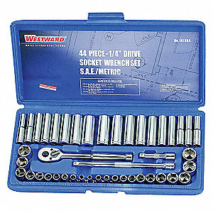 "1/4""Drive SAE/Metric Chrome Socket Wrench Set, Number of Pieces: 44"