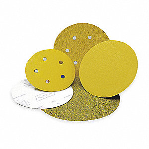 "6"" Hook-and-Loop Sanding Disc, Ceramic, 80 Grit, Medium, Coated, A975, PK50"
