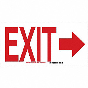 Exit Sign,7 x 10In,R/WHT,Glossy FNSH, AL