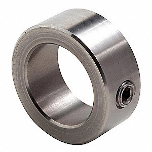 "Stainless Steel Shaft Collar, Set Screw Collar Style, Standard Dimension Type, 1-1/4"" Bore Dia."