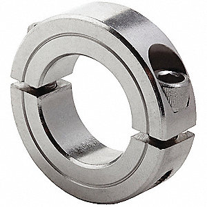"Stainless Steel Shaft Collar, Clamp Collar Style, Standard Dimension Type, 3/16"" Bore Dia."