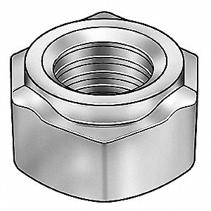 Steel Weld Nut with 3/8-16 Thread Size and Plain Finish&#x3b; PK50
