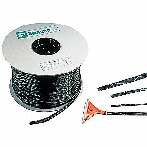 "Expandable Braided Sleeving,  I.D.: 0.500"", Length: 100 ft., Black"