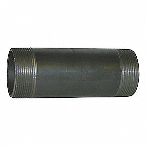"2"" Black Steel Nipple, 10"" Overall Pipe Length, Threaded on Both Ends, Seamless, Pipe Schedule 80"