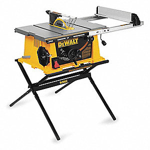 "10"" Portable Table Saw, 15.0 Amps, Blade Tilt: Right/Left, 5/8"" Arbor Size, 3650 No Load RPM"