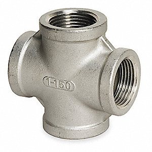 "316 Stainless Steel Cross, FNPT, 1-1/4"" Pipe Size"