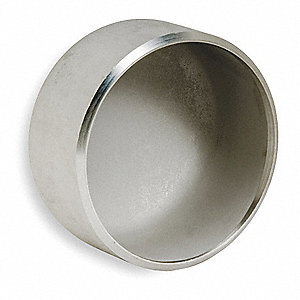 "304L Stainless Steel Cap, 2-1/2"" Pipe Size - Pipe Fitting, Schedule 10 Fitting Schedule/Class"