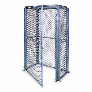 "Gray Steel Wire Mesh Enclosure Kit 87""H x 74-1/2""W x 44-1/2""D"