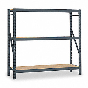 "72""W x 24""D x 72""H 16 ga. Steel Bulk Storage Rack Starter Unit, Gray&#x3b; Number of Shelves: 3"