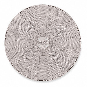 Circular Chart,6 In,0 to 200F,7 Day,Pk60