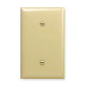 Blank Strap Mount Wall Plate, Ivory, Number of Gangs: 1, Weather Resistant: No