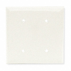 Blank Strap Mount Wall Plate, White, Number of Gangs: 2, Weather Resistant: No