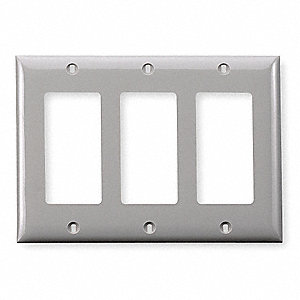 Rocker Wall Plate,  Gray,  Number of Gangs 3,  Weather Resistant No