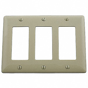 Rocker Wall Plate, Ivory, Number of Gangs: 3, Weather Resistant: No