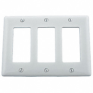 Rocker Wall Plate, White, Number of Gangs: 3, Weather Resistant: No