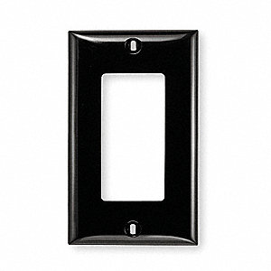 Rocker Wall Plate, Black, Number of Gangs: 1, Weather Resistant: No