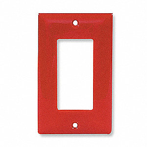 Rocker Wall Plate, Red, Number of Gangs: 1, Weather Resistant: No