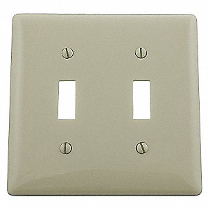 Toggle Switch Wall Plate, Ivory, Number of Gangs: 2, Weather Resistant: No