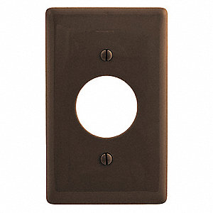 Single Receptacle Wall Plate, Brown, Number of Gangs: 1, Weather Resistant: No