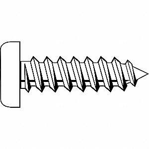 "1/2"" Case Hardened Steel Sheet Metal Screw with Pan Head Type and Zinc-Plated Finish, 100 PK"