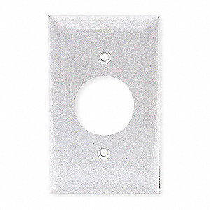Single Receptacle Wall Plate, White, Number of Gangs: 1, Weather Resistant: No