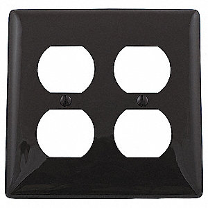 Duplex Receptacle Wall Plate, Brown, Number of Gangs: 2, Weather Resistant: No