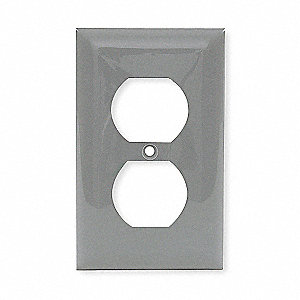 Duplex Receptacle Wall Plate, Gray, Number of Gangs: 1, Weather Resistant: No