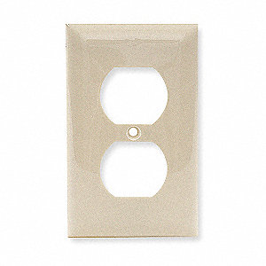 Duplex Receptacle Wall Plate, Ivory, Number of Gangs: 1, Weather Resistant: No