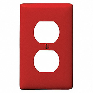 Duplex Receptacle Wall Plate, Red, Number of Gangs: 1, Weather Resistant: No