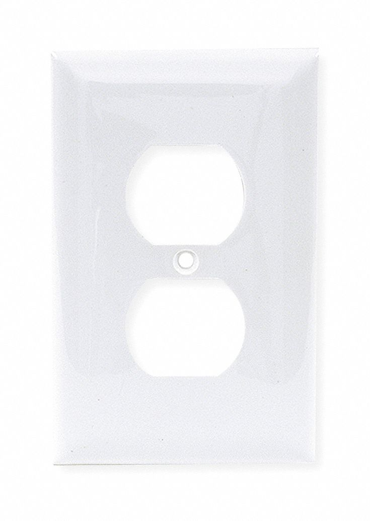 Duplex Receptacle Wall Plate,  White,  Number of Gangs 1,  Weather Resistant No