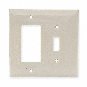 Toggle Switch/Rocker Wall Plate, Ivory, Number of Gangs: 2, Weather Resistant: No