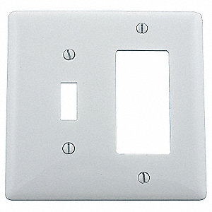 Toggle Switch/Rocker Wall Plate, White, Number of Gangs: 2, Weather Resistant: No