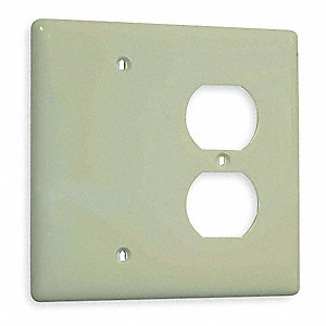 Duplex/Blank Wall Plate, Ivory, Number of Gangs: 2, Weather Resistant: No