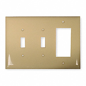 1 Rocker/2 Toggle Wall Plate, Ivory, Number of Gangs: 3, Weather Resistant: No
