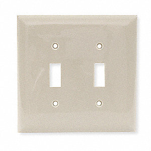 Toggle Switch Wall Plate,2 Gang,Ivory