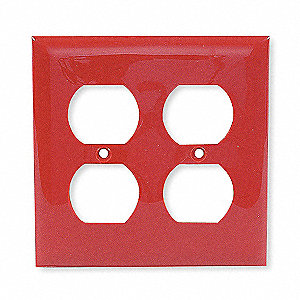 Duplex Wall Plate,2 Gang,Red