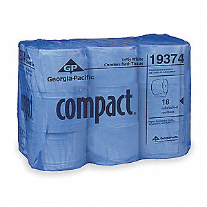 1 Ply Coreless Toilet Paper Compact®, 1000 ft., 18PK