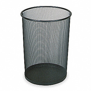 "Concept Collection  5 gal. Round Open Top Wastebasket, 14""H, Black"
